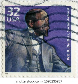 MOSCOW, RUSSIA - APRIL 15, 2018: A stamp printed in USA shows William Edward Burghardt W. E. B. Du Bois  (1868-1963), social activist, 1998