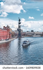 MOSCOW, Russia - April 16, 2015: The Peter the Great Statue, located at the confluence of the Moskva River and the Vodootvodny Canal in Moscow, Russia.