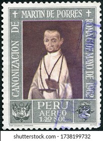 MOSCOW, RUSSIA - APRIL 16, 2020: A stamp printed in Peru shows Brother Martin de Porres Velasquez (1579-1639), 1962