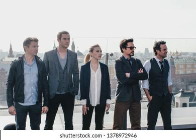 Moscow, Russia - April 17, 2012: Scarlett Johansson, Robert Downey Jr., Tom Hiddleston, Chris Hemsworth, Mark Ruffalo, Jeremy Renner at The Avengers photocall at rooftop of Ritz-Carlton hotel