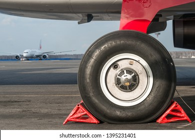 Moscow, Russia -April 18 2019:  landing gear of airbus  321 in airport
