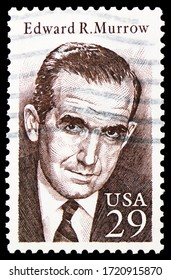 MOSCOW, RUSSIA - APRIL 18, 2020: Postage stamp printed in United States shows Edward R. Murrow (1908-1965), Journalist, serie, circa 1994