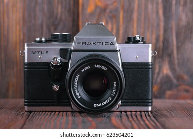 MOSCOW, RUSSIA, APRIL 19, 2017. The old German 35 mm SLR camera Praktica MTL 5, released1984.