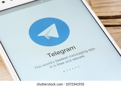 Moscow, Russia - April 19, 2018: Telegram application on smartphone. It is a cloud-based instant messaging service