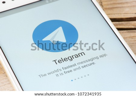 Moscow Russia April 19 2018 Telegram Stock Photo (Edit Now