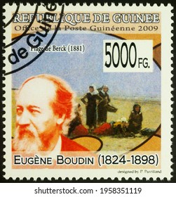 Moscow, Russia - April 19, 2021: stamp printed in Guinea shows French artist Eugene Boudin, and his painting Berk Beach, series Paintings - by Eugene Boudin, 1824-1898, circa 2009
