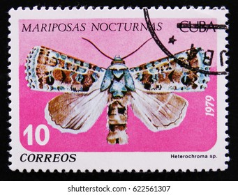 MOSCOW, RUSSIA - APRIL 2, 2017: A post stamp printed by Cuba is from series Mariposas Nocturnas (Night Moths) and shows Heterochroma sp., a moth of Noctuidae family, circa 1979