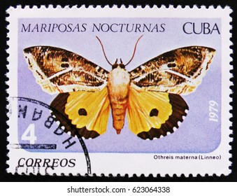 MOSCOW, RUSSIA - APRIL 2, 2017: A Stamp printed in Cuba shows image of a Othreis materna Linneo butterfly (Mariposas nocturnas), Night moth series, circa 1979