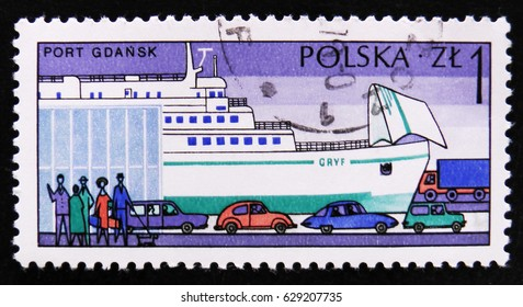 """MOSCOW, RUSSIA - APRIL 2, 2017: A post stamp printed in Poland shows sea port Gdansk, Ferry """" Gryf """", circa 1976"""