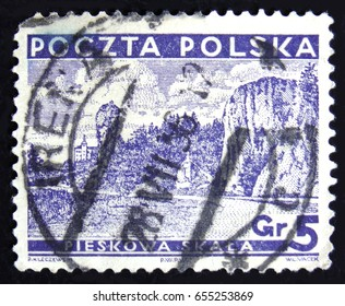 MOSCOW, RUSSIA - APRIL 2, 2017: A post stamp printed in Poland shows Pieskowa Skala (Dog's Rock), circa 1935