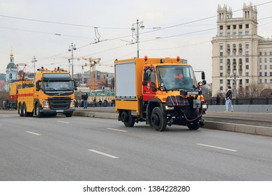 Moscow, Russia - April 20, 2019: The Parade of Trams in Moscow, annual and popular. Mandatory tram parade participants are special cars to assist trams on the line.
