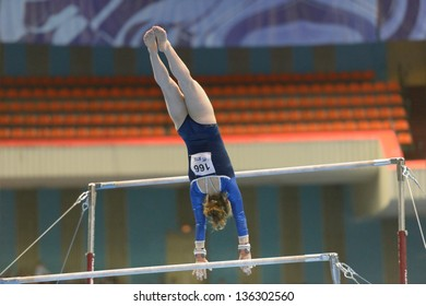 MOSCOW, RUSSIA - APRIL 20: Ida Gustafsson, Sweden performs exercise on uneven bars in final of 5th European Championships in Artistic Gymnastics in Moscow, Russia on April 20, 2013