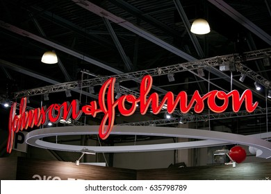 Moscow, Russia - April, 2017: Johnson & Johnson logo company sign. Johnson & Johnson is an American multinational medical devices, pharmaceutical and consumer packaged goods manufacturer