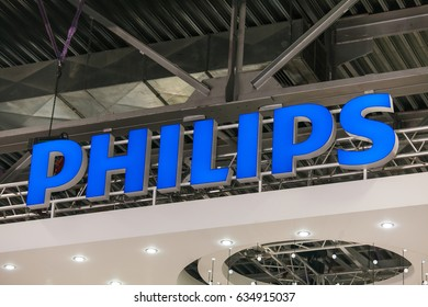 Moscow, Russia - April, 2017: Philips company logo sign. Philips Dutch technology company headquartered in Amsterdam with primary divisions focused in the areas of electronics, healthcare and lighting