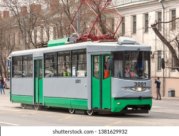 Moscow, Russia - April 2019: Parade of trams in honor of 120th anniversary of Moscow tram. The unique tram car 71-135 (LM-2000). It was made in a single copy in 2001 specifically for Moscow.