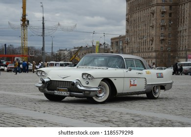 MOSCOW, RUSSIA - APRIL 21, 2013: Cadillac Eldorado classic American car at retro cars rally start.