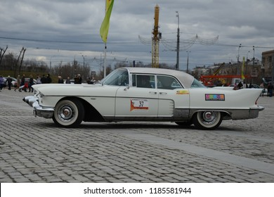MOSCOW, RUSSIA - APRIL 21, 2013: 1957 Cadillac Eldorado classic American car at retro cars rally start.