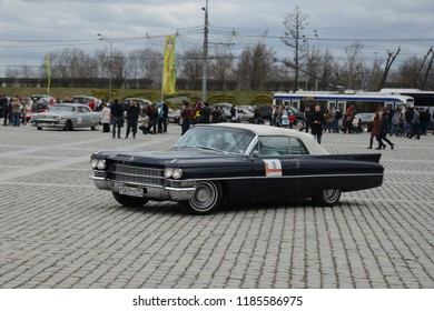 MOSCOW, RUSSIA - APRIL 21, 2013: Cadillac Eldorado Convertible classic American car at retro cars rally start.