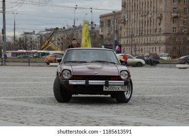 MOSCOW, RUSSIA - APRIL 21, 2013: Datsun 240Z Fairlady classic Japanese car at retro cars rally start.