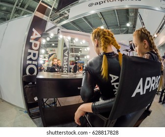 MOSCOW, RUSSIA - APRIL 21, 2017: Workplace for makeup at booth of Aprioiri Photo studio at PhotoForum 2017 trade show and exhibition in Moscow, Russia on April 21, 2017.