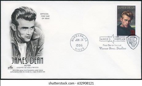 MOSCOW, RUSSIA - APRIL 21, 2017: A stamp printed in USA shows James Dean (1931-1955), actor, 1996
