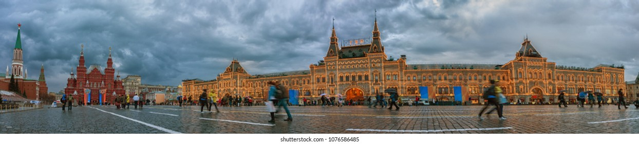 Moscow, Russia - April 21, 2018: Red Square in Moscow. Exterior of the Main Department Store (GUM) in evening illumination, Panoramic view. Russia.