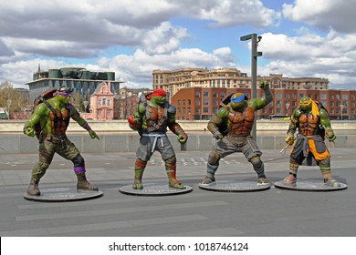 Moscow, Russia - April 23, 2016: Teenage mutant ninja turtles figures in the park Muzeon in Moscow