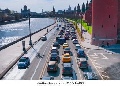 MOSCOW, RUSSIA- APRIL 23, 2018: Traffic jam near Moscow Kremlin on the embankment River Moscow