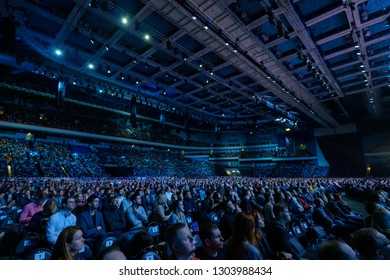 Moscow - Russia, April 23, 2018: People attend business conference in congress hall at Synergy Global Forum