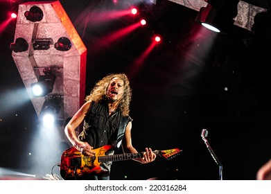 MOSCOW, RUSSIA - APRIL 24, 2010 - American rock band Metallica performing live at Olimpiysky stadium on April 24, 2010 in Moscow, Russia