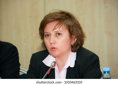 MOSCOW, RUSSIA - APRIL 24, 2016: SAP Russia CEO Natalia Parmenova make panel discussion at SAP Forum conference on April 24, 2016 in Moscow, Russia.