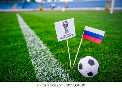 MOSCOW, RUSSIA - APRIL, 24, 2018: Official logo of FIFA World Cup 2018 in Russia.