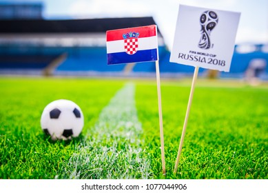 MOSCOW, RUSSIA - APRIL, 24, 2018: Croatia national flag and Official logo of Football FIFA World Cup 2018 in Russia.