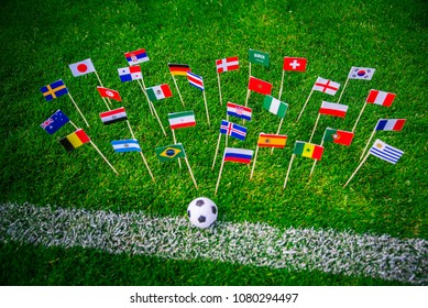 MOSCOW, RUSSIA - APRIL, 24, 2018: All nations flag of FIFA Football World Cup 2018 in Russia. Fans support concept photo.
