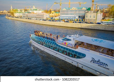 MOSCOW, RUSSIA- APRIL, 24, 2018: People on the yacht of Flotilla Radisson Royal during the river tour. Working all year round, the Flotilla carry half million passengers per year