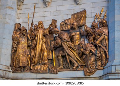 MOSCOW, RUSSIA- APRIL, 24, 2018: Outdoor view of bronze sculptures on Cathedral of Christ the Saviour on the northern bank of the Moskva River in Moscow
