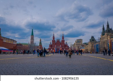 MOSCOW, RUSSIA- APRIL, 24, 2018: Outdoor view of people walking in the red square close to a building of the State Historical Museum in Moscow