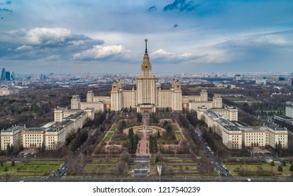 MOSCOW, RUSSIA – APRIL 25, 2018: An aerial view of the Lomonosov Moscow State University main building.