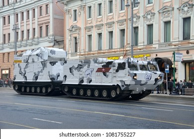 MOSCOW, RUSSIA - April 26, 2018 The Tor-M2DT, the Arctic version of the Tor-M2 short-range surface-to-air missile (SAM) system, on Tverskaya street beforebeginning of night rehearsal of Victory Parade
