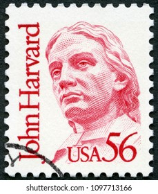 MOSCOW, RUSSIA - APRIL 26, 2018: A stamp printed in USA shows John Harvard (1607-1638), Great Americans, 1986