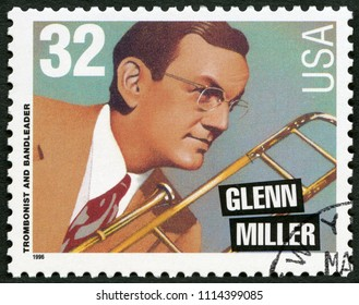 MOSCOW, RUSSIA - APRIL 26, 2018: A stamp printed in USA shows Glenn Miller (1904-1944), trombonist and bandleader, 1996