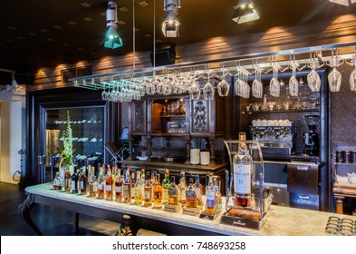 Moscow, Russia - April 27, 2011 - Restaurant interior with subdued lights and bar
