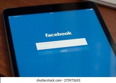 MOSCOW, RUSSIA - APRIL 27, 2015: Facebook is online social networking service. It was founded in 2004 by Mark Zuckerberg