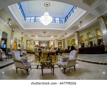 MOSCOW, RUSSIA - APRIL 27, 2017: Metropol hotel lobby and reception desk in Moscow, Russia on April 27, 2017. Hotel was built in 1899-1907 in Art Nouveau style.