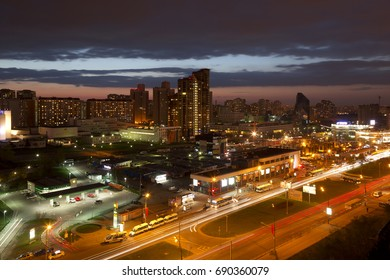 MOSCOW, RUSSIA - APRIL 28, 2014: Night Moscow. Avenue Vernadskogo, top view. Russia