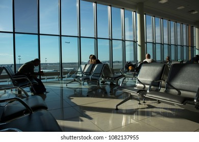 Moscow, Russia - APRIL 28, 2018: airport terminal. Sheremetyevo International Airport is an international airport located in Khimki, Moscow Oblast, Russia, 29 km northwest of central Moscow.