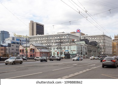 MOSCOW, RUSSIA - April  28, 2018: Buildings and houses at the Mira Avenue in cloudy day. Mira Avenue a major avenue in the north-east of Moscow.