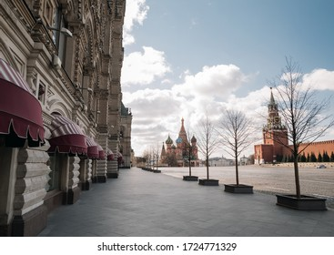 Moscow, Russia - April 28, 2020: Empty Red Square and Kremlin in Moscow during the quarantine lockdown in April 2020