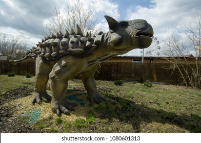 MOSCOW, RUSSIA - APRIL 29, 2017: Ankylosaurus, Prehistoric reptile, in Dinosaur Park, Moscow, Russia