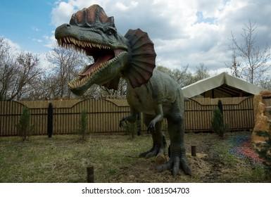 MOSCOW, RUSSIA - APRIL 29, 2017: Dilophosaurus, Dino, Prehistoric animal,   in Dinosaur Park, Moscow, Russia